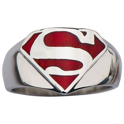 NEW STAINLESS STEEL SUPERMAN MAN OF STEEL RING RED DC COMICS OFFICIALLY LICENSED