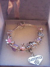"BABY/CHILD/TODDLERS 5"" DAUGHTER CHARM BRACELET  BOXED"