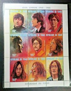 Beatles-John-Lennon-Collectible-Stamps-Republique-du-Tchad-w-COA