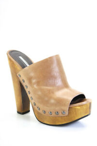 Vera Wang Lavender Label Womens Platform Studded Trim Sandals Brown Leather 4M
