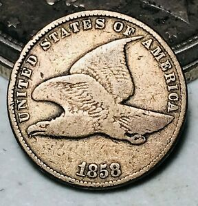 1858 Flying Eagle Cent One Penny 1C Small Letters Civil War Era US Coin CC6219