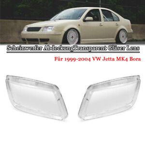 Scheinwerfer-AbdeckungTransparent-Glaeser-Lens-fuer-1999-2004-VW-Jetta-MK4-Bora