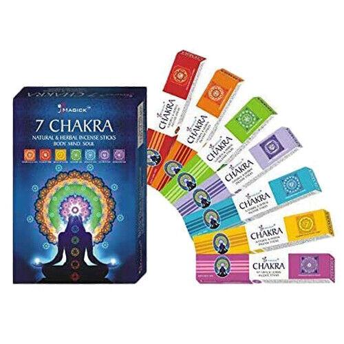 7 Packs Incense Sticks Divine Magick 7 Chakra Incense Sticks Freshener 15gms