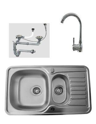 Edelstahlspüle LEINENSTRUKTUR Armatur Küchenspüle Einbauspüle Spüle Spülbecken