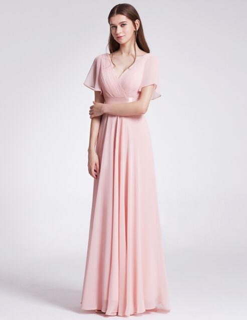 3806e6cf60bc9e Long Maxi Cap Sleeve Bridesmaid Dresses Formal Wedding Evening Prom ...