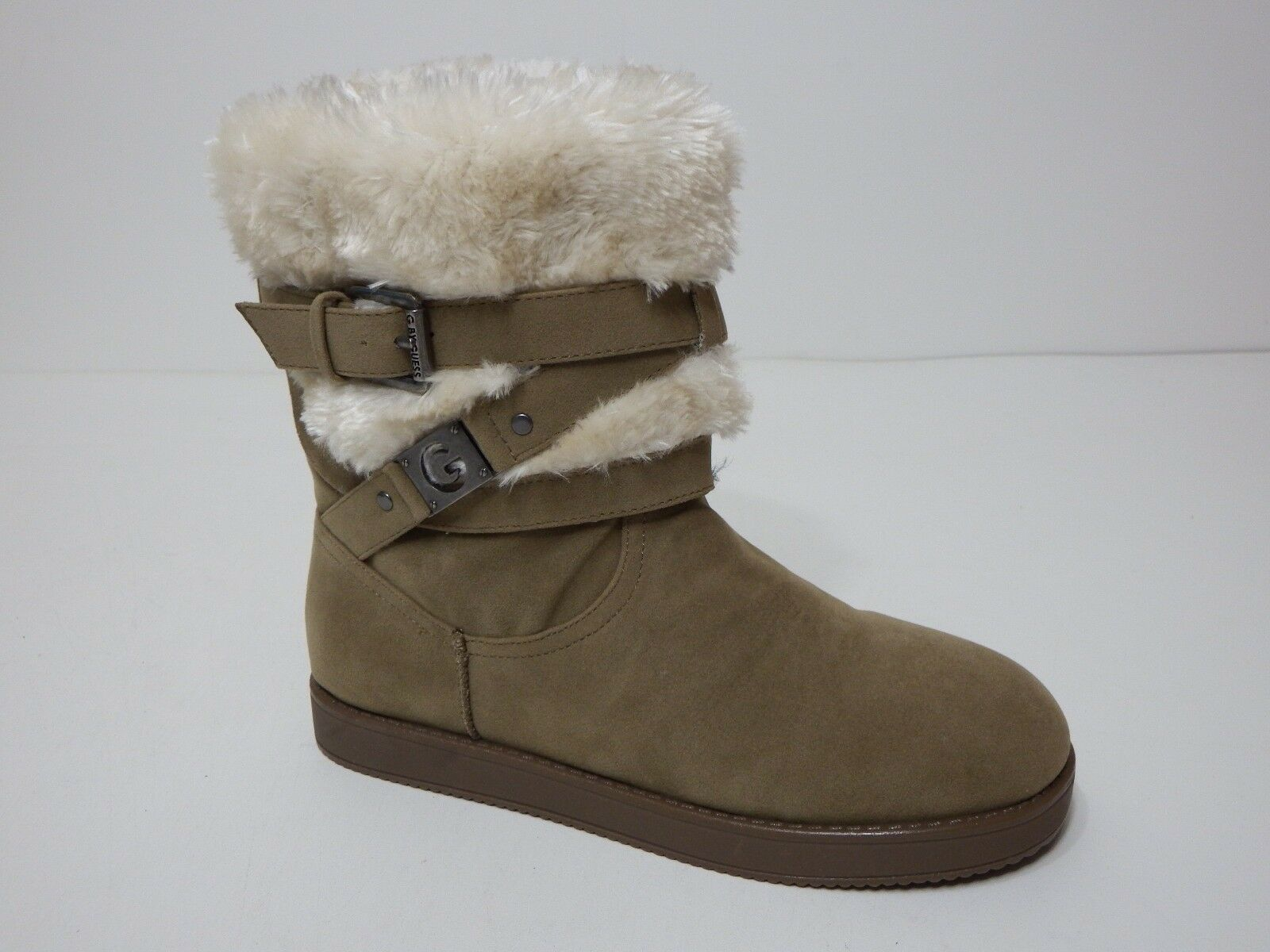 Guess boots womens  6 M shoes Alta slip taupe Multi Fabric faux fur buckle