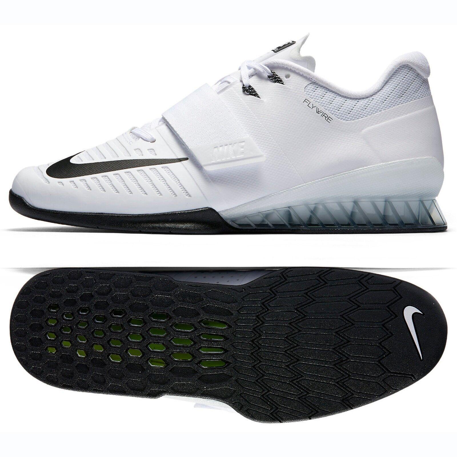 Nike romaleos 3 852933-100 bianco / pelle nera crossfit uomini scarpe di sollevamento pesi