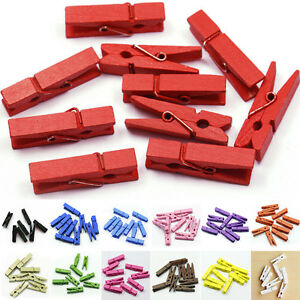20x-Mini-Wooden-Craft-Pegs-Photo-Clips-35mm-choose-colour-JO
