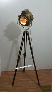 Retro Searchlight With Brown Tripod Stand Bronze Spotlight Floor tripod Antique
