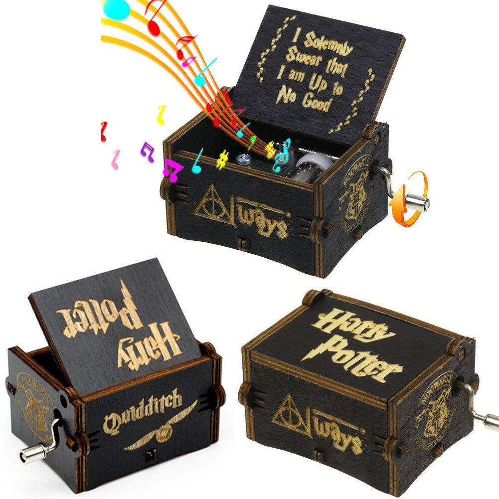 Black Harry Potter Music Box Engraved Hand Wooden Music Box