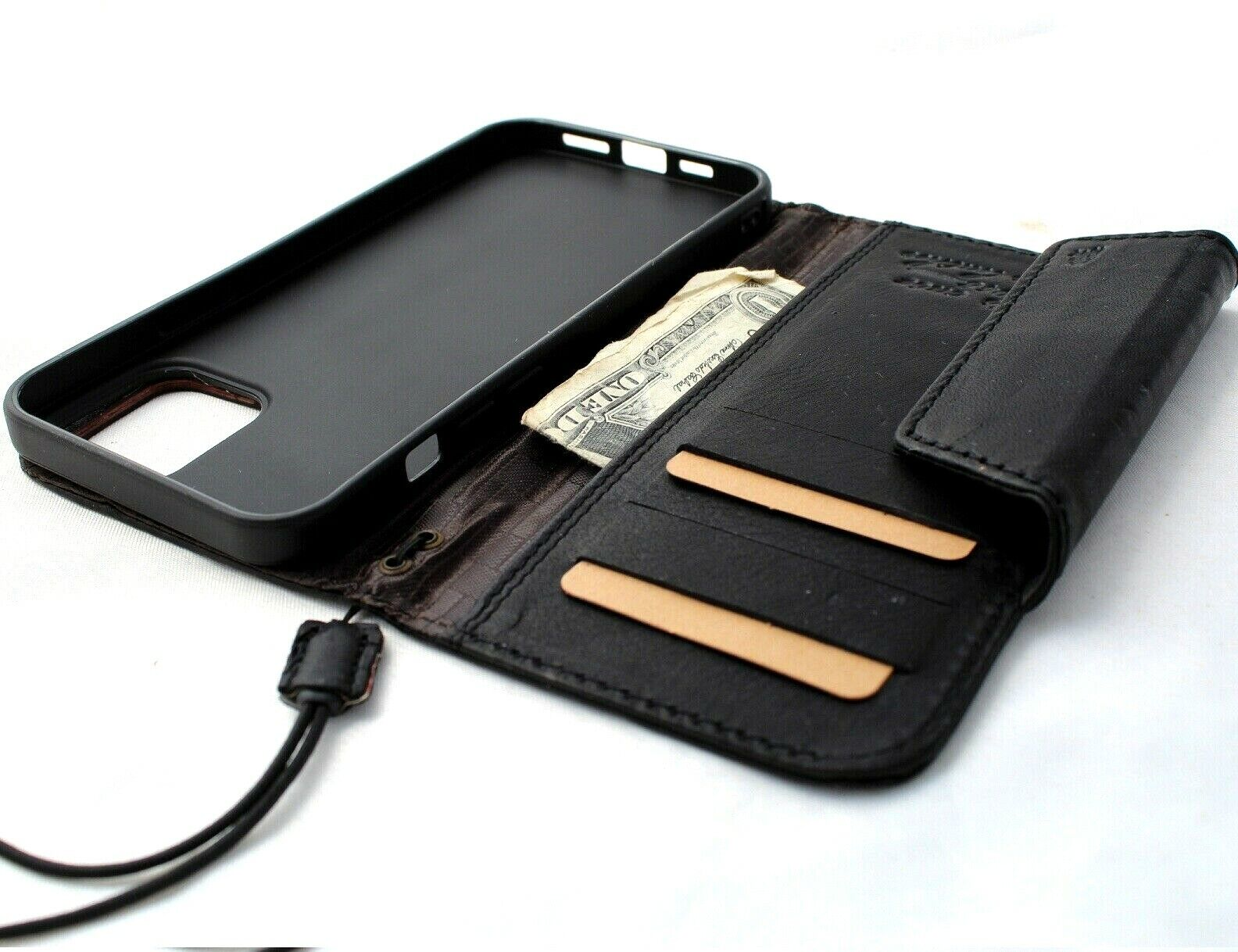Image 11 - Genuine Full Leather Case For Apple iPhone 12 Pro Max Wallet Luxury Cover Book