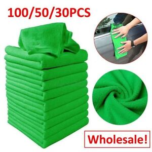 100//50//5x Blue Car Cleaning Detailing Soft Cloths Bulk Towel Microfibre Polish