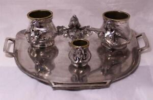 Antik Jugendstil Figuren Silber Plate Tisch Set Russland/Polen Fraget c.1905