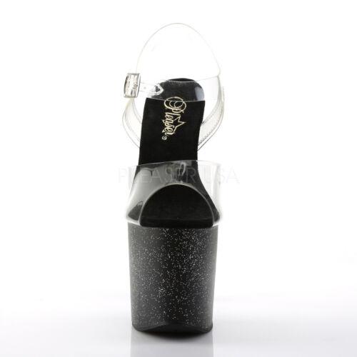 transparente irisées 7 bride 5 5 cheville paillettes de mini brillantes talon avec Heel de Taboo Plateforme Size taille t4wFzz