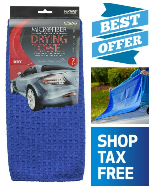 Viking Car Care Waffle Weave Drying Towel Blue 7 Square Feet