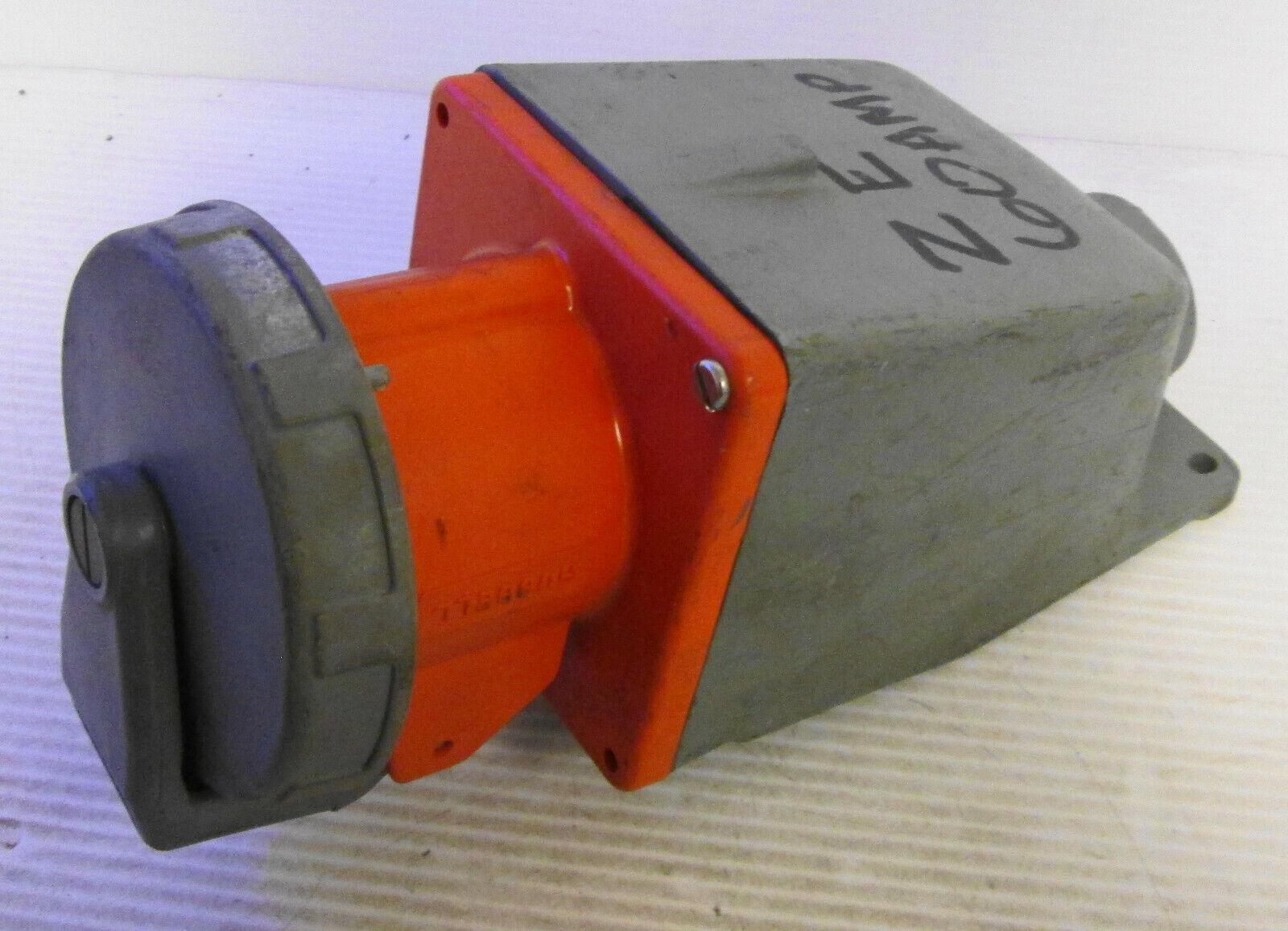 60A IEC 309 460B12W Inlet 125//250V Cooper # AH460B12W Orange 3P//4W