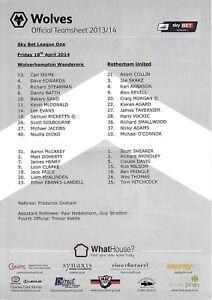 Teamsheet-Wolverhampton-Wanderers-v-Rotherham-United-2013-14