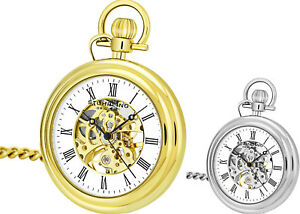 Stuhrling 6053 Men's Vintage Mechanical Skeleton Stainless Steel Pocket Watch