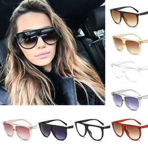 Women Flat Top Mirror Sunglasses Brand Designer UV400 Over Size Sun ... b5ba4177b2