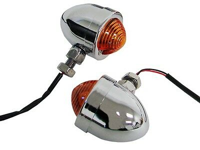 Panhead Chrome Mini Turn Signals For Chopper Custom Bobber Cafe Racer XL Harley