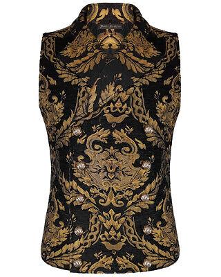 Devil Fashion Mens Vest Waistcoat Black Gold Damask Gothic Steampunk Aristocrat