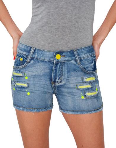 Damen Jeans kurze Hose Hüftjeans Hot Pants Shorts Panty Sommer D-183