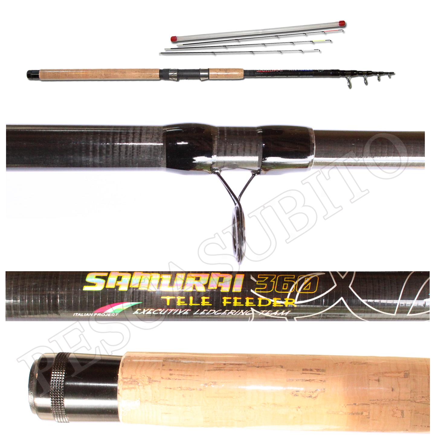 Canna Ledgering Carbonio Telescopica Samurai Tele Feeder 3,60m Pesca