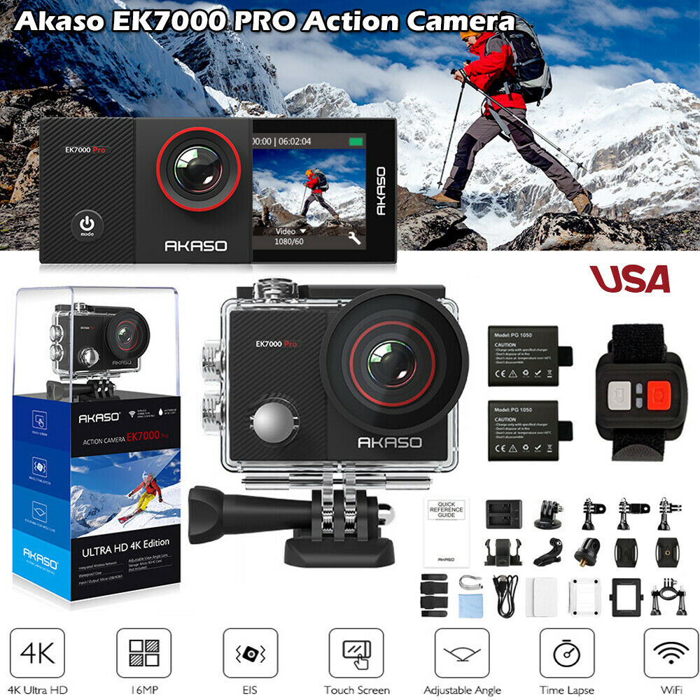 AKASO EK7000 Pro Sports Action Camera 4K Ultra HD 16MP Wifi DV Camcorders EIS 16mp action akaso camcorders camera ek7000 pro sports ultra wifi