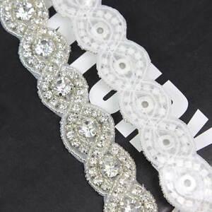 1 yard klar strass kristall perlen silber borten zum. Black Bedroom Furniture Sets. Home Design Ideas