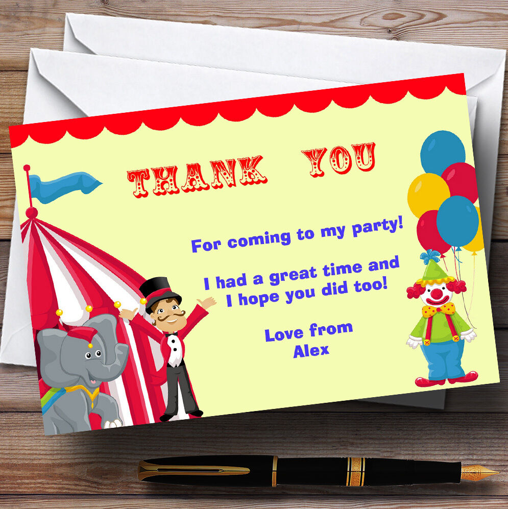 Circus Clown And Tent Personalised Birthday Birthday Birthday Party Thank You Cards adc2d6