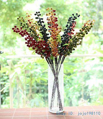 1 PCS Long Stem Artificial Bush Berry Bouquet Home Decoration Gift NO VASE F236