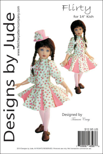 "Flirty Dress Doll Clothes Sewing Pattern for 14/"" Kish Dolls"