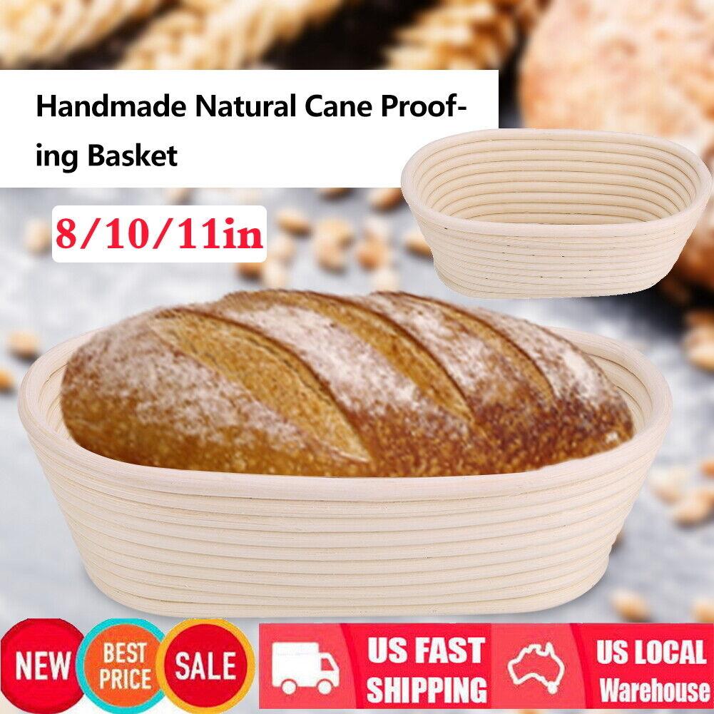 8/10/11in Oval Artisan Banneton Brotform Bread Dough Proofing Rattan Basket US 10