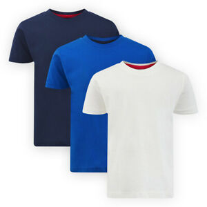 Boys Short Sleeve Plain Jersey T-Shirt Casual Crew Neck Cotton Top Tee Shirt
