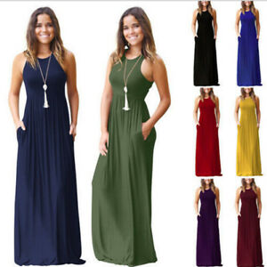 e3ef0bdc69 Image is loading Women-Summer-Boho-Chiffon-Party-Evening-Beach-Dresses-