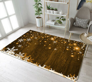 Details About Christmas Design Snowflakes Stars Rustic Boards Area Rugs Living Room Floor Mat