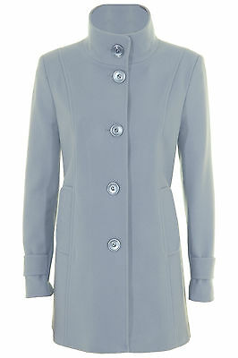 Busy Ladies Light Blue High Neck Wool Blend Coat