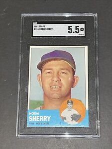 1963 Topps #316 Norm Sherry SGC 5.5 Newly Graded & Labelled