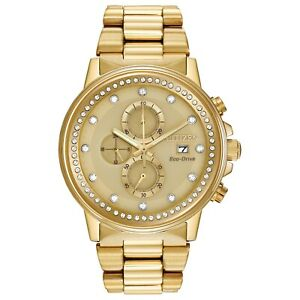 Citizen Eco-Drive Nighthawk Unisex Chronograph Gold-Tone 42mm Watch FB3002-53P