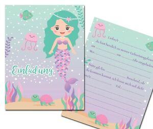 einladungskarten meerjungfrau unterwasserwelt nixe