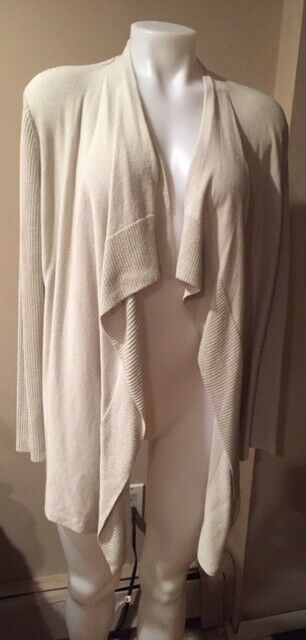 Eileen Fisher SZ PM Cream Ivory Open Front Cotton Blend Open Cardigan