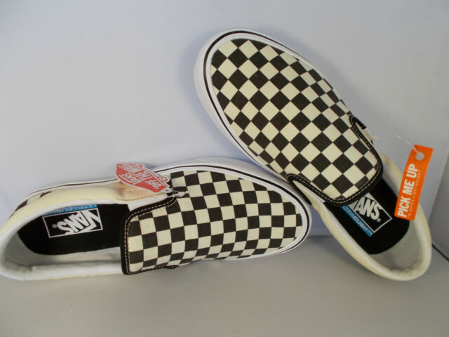 VANS Slip-On Lite Black/White Checkerboard UltraCush Shoes Men's Size 10.5 NIB