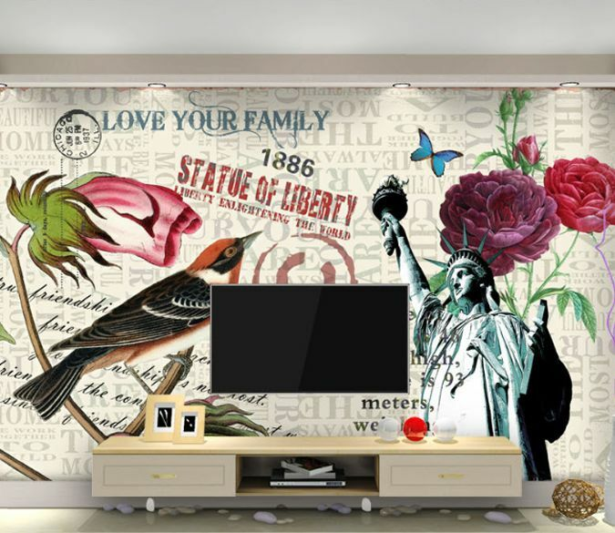 3D Romantic Flower Birds Wall Paper Wall Print Decal Wall Deco AJ WALLPAPER