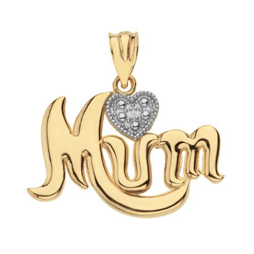 Details about  /Solid 14k Yellow Gold Diamond Cursive Mum Rhodium Heart Pendant Necklace