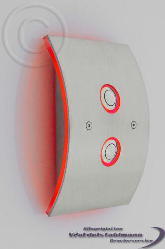 sonnette sonnette Bouclier LED jaune. double-sonnerie plaque sonnerie K1dge /_ Acier inoxydable