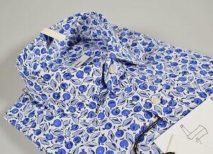 Camicia-moda-Ingram-Slim-Fit-sfiancata-fantasia-stampata-azzurra-cotone-stretch