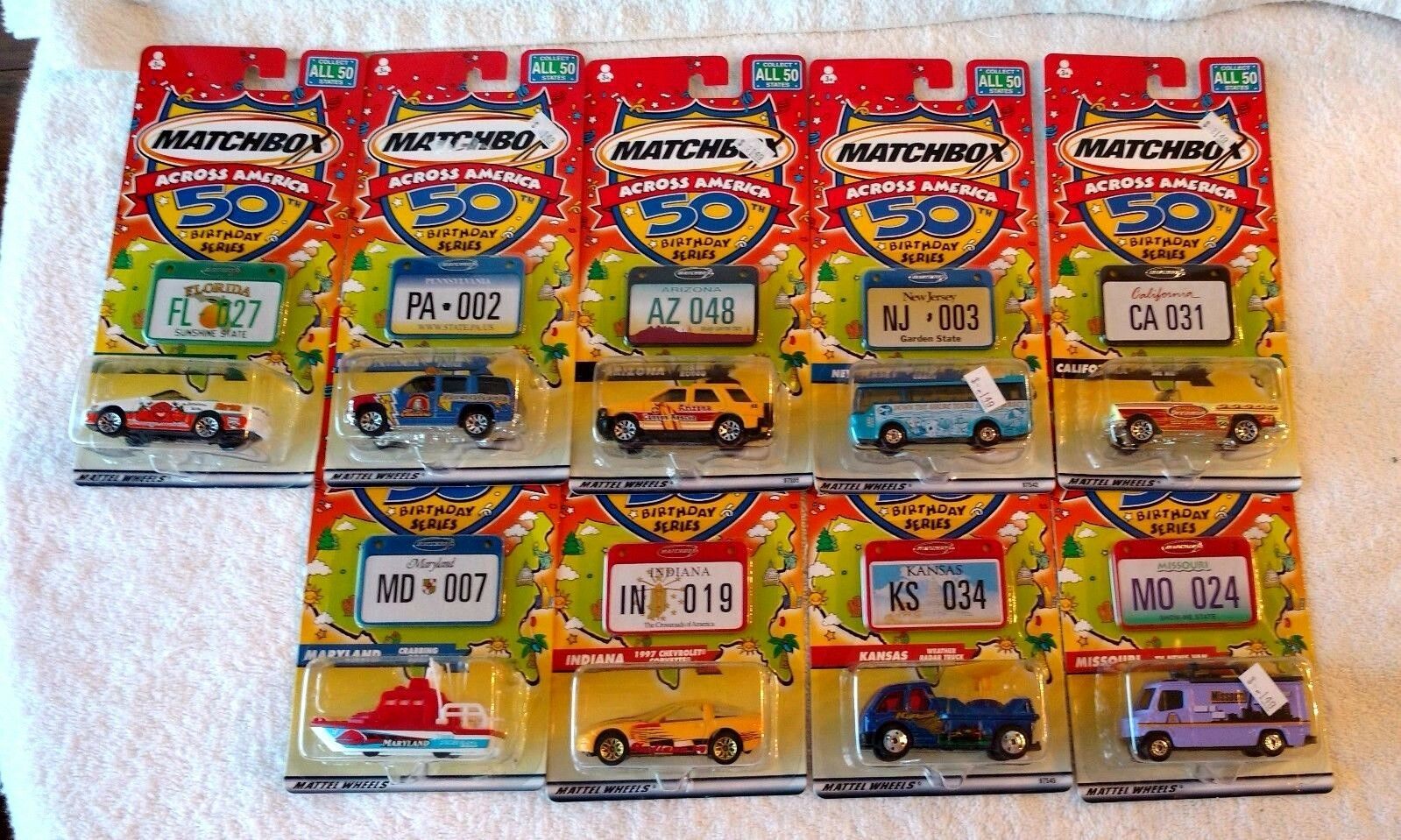 Matchbox Across America 50th Birthday Series Lot of 9 NIP