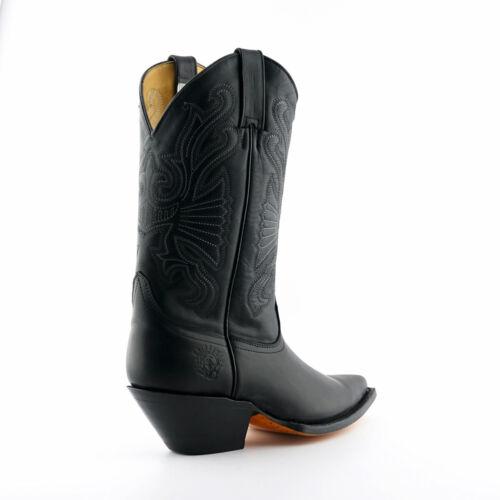 Hommes Grinders Buffalo Cuir Noir Bottes à Enfiler Western Cowboy Boots