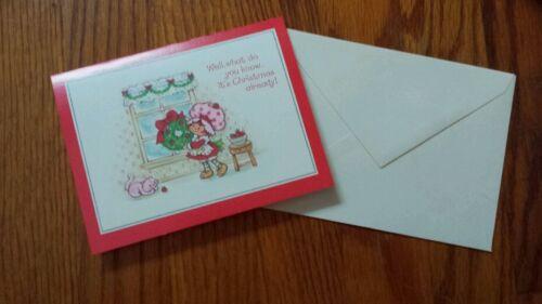Vintage Strawberry Shortcake Christmas Card 1980 Custard Window Wreath