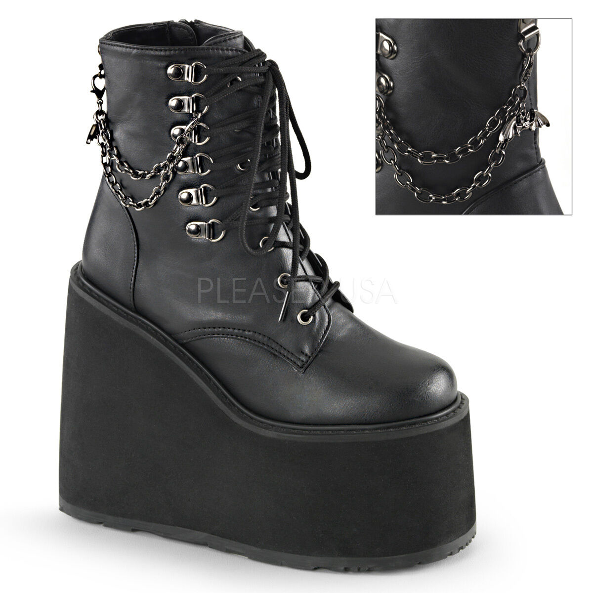 SWING-101 BIKER GOTH PUNK ROCK  COMBAT CASUAL EVA WEDGE LACE UP  ANKLE BOOT